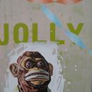 "Jolly Chimp 2, 20"" x 27"", acrylic on mylar"