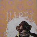 "Happy Chimp, 20"" x 27"", acrylic on mylar"