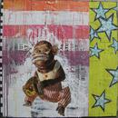 """Jolly Chimp, 36"""" x 36"""", acrylic, collage on wood cradle"""