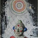 """Clown Closeup, acrylic, mixed media on masonite, 24"""" x 38"""", by Mary Lottridge"""