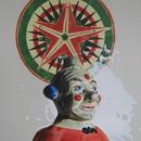 "Clown with Gameboard, 24"" x 36.5"", acrylic on mylar by Mary Lottridge"