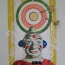 "Clown with Darts, 24"" x 36"", acrylic on mylar by Mary Lottridge"