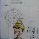 """Pinocchio, 24"""" x 24"""", acrylic on wood cradle"""