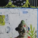 """What the Clown Saw, 24"""" x 36"""", acrylic on wooden cradle"""